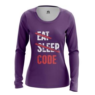 Женский Лонгслив Eat sleep code - купить в teestore