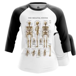 Женский Реглан 3/4 Скелет человека - купить в teestore