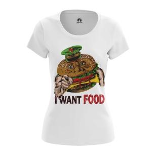 Женская футболка I want food  купить