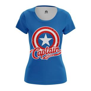 Женские Женские футболки Капитан Америка Лого. Доставка по всей России