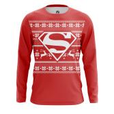 Мужской Лонгслив Супермен Новогодний - купить в teestore